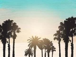 在丙烯酸 漆背景上的棕榈树