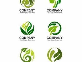 Abstract leaf logo template, leaf icons, green logo set