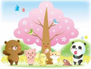 春天的动物和樱花的插图