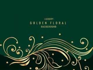 与金色花艺设计的绿色背景