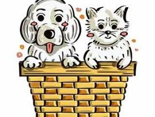 小狗和小猫在框中