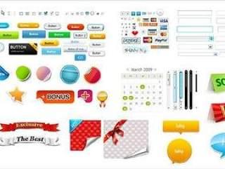 网页按钮和小图标设计PSD