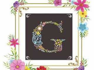 字母G首字母与花卉矢量