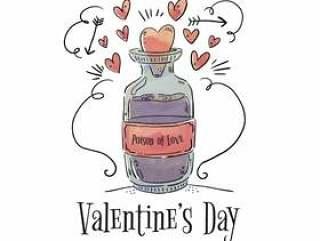 可爱的毒药与心和箭飞向情人节' s天