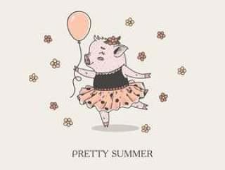 手拉逗人喜爱的小女孩贪心芭蕾舞女的动画片