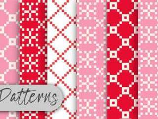 红色和粉红色的像素模式集