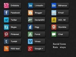 社交平台分享图标-psd分层素材