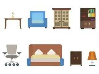 平的家庭家具向量