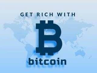 比特币cryptocurrency在蓝色背景上的符号