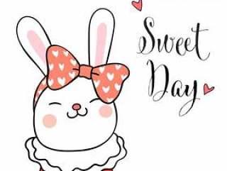 在头上画兔子和美容弓用词甜