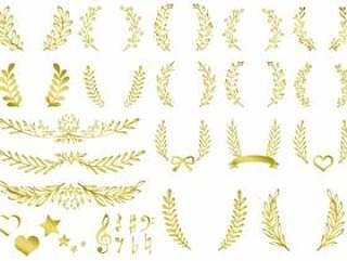 叶子植物框架框架装饰框架材料金子颜色