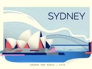 悉尼地标明信片矢量平面插画