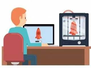 打印原型的年轻男孩使用3d打印机