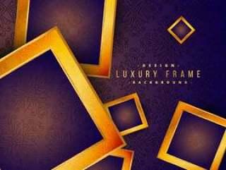 紫色复古金色框架豪华背景