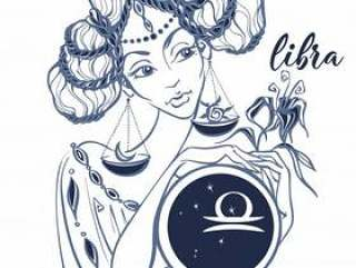Zodiac sign Libra as a beautiful girl.