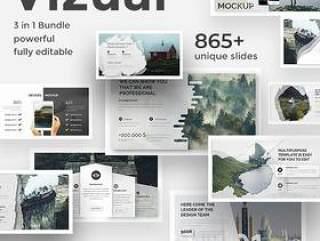 865+现代和独特的PPT模板幻灯片500+可编辑图标打包下载