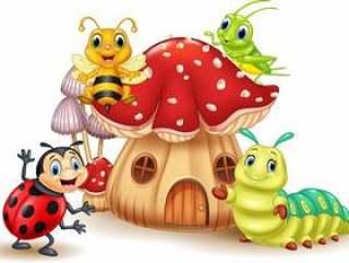 卡通搞笑昆虫与蘑菇房子