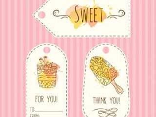 标签与冰淇淋的插图。矢量手绘标签设置水彩溅起。