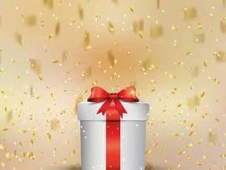 与五彩纸屑的圣诞礼物