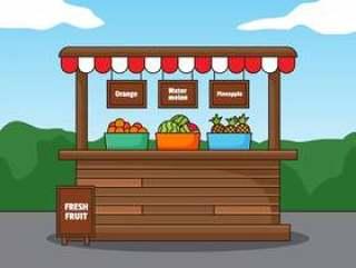 新鲜水果木摊位图