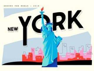 明信片自由地标在纽约矢量平面插画