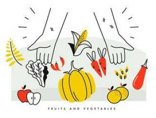农民的手充分的收获水果和蔬菜矢量图