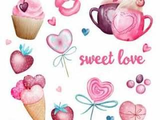 水彩套甜蜜的情人节爱情元素