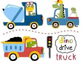 传染媒介套有dinos动画片的驾驶的卡车