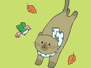 卡通可爱秋天猫与鸟矢量。
