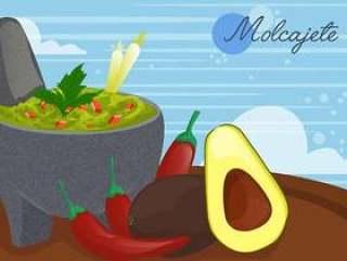 墨西哥食物的Molcajete