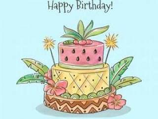 可爱的生日蛋糕与热带风格矢量