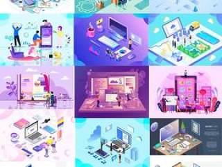 16款电商淘宝电脑手机UI插图画商业购物banner广告设计AI矢量分层素材
