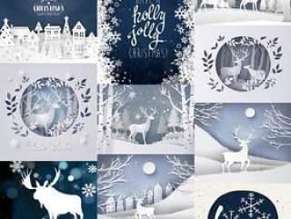 11款唯美创意剪纸麋鹿圣诞节植物海报冬天冬季新年AI矢量分层素材