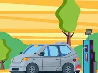电动汽车充电外加油站电厂插图
