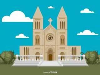 平的样式修道院大厦例证
