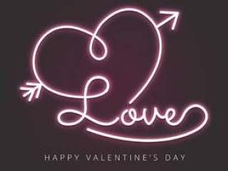 与心脏和箭头的爱在霓虹作用