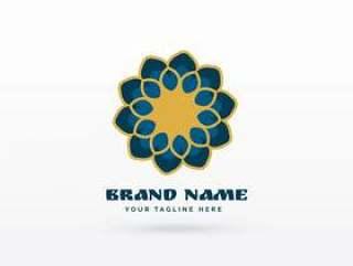 现代伊斯兰花卉风格图案标志概念设计