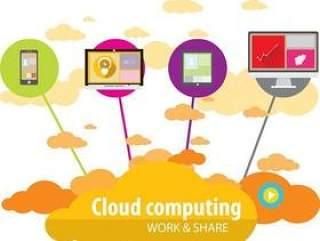 现代通讯云服务扁平化图标