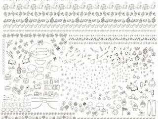 模拟手写的线描材料集各种春天夏天秋天的冬天