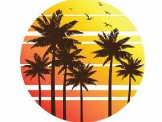 棕榈树日落