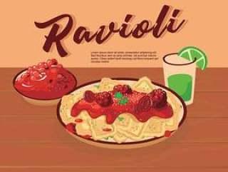 在板材传染媒介例证的意大利食物馄饨