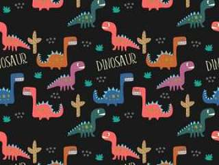 幼稚恐龙画无缝图案背景。