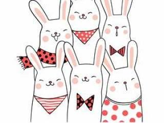 用词欢迎画出可爱的兔子
