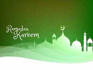 在绿色背景上的清真寺剪影与波
