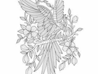 Hand drawn illustration of parrot in zentangle style