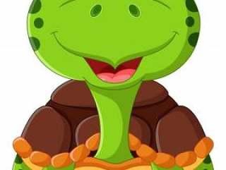 在白色背景隔绝的动画片滑稽的乌龟