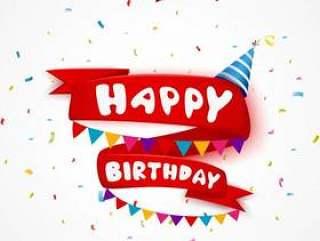 生日与红色丝带的庆祝元素