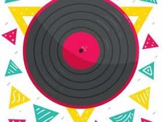 五颜六色的三角黑胶唱片传染媒介