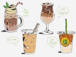 冰咖啡咖啡馆菜单手绘矢量图