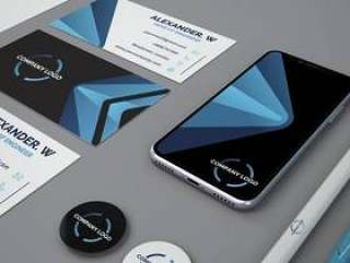 Stationery mockup with smartphone